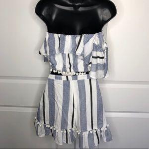 Forever 21 Skirts - Blue white Stripe Skirt Set